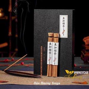Đàn hương Tonga 2 ống, đế cắm chiếc lá